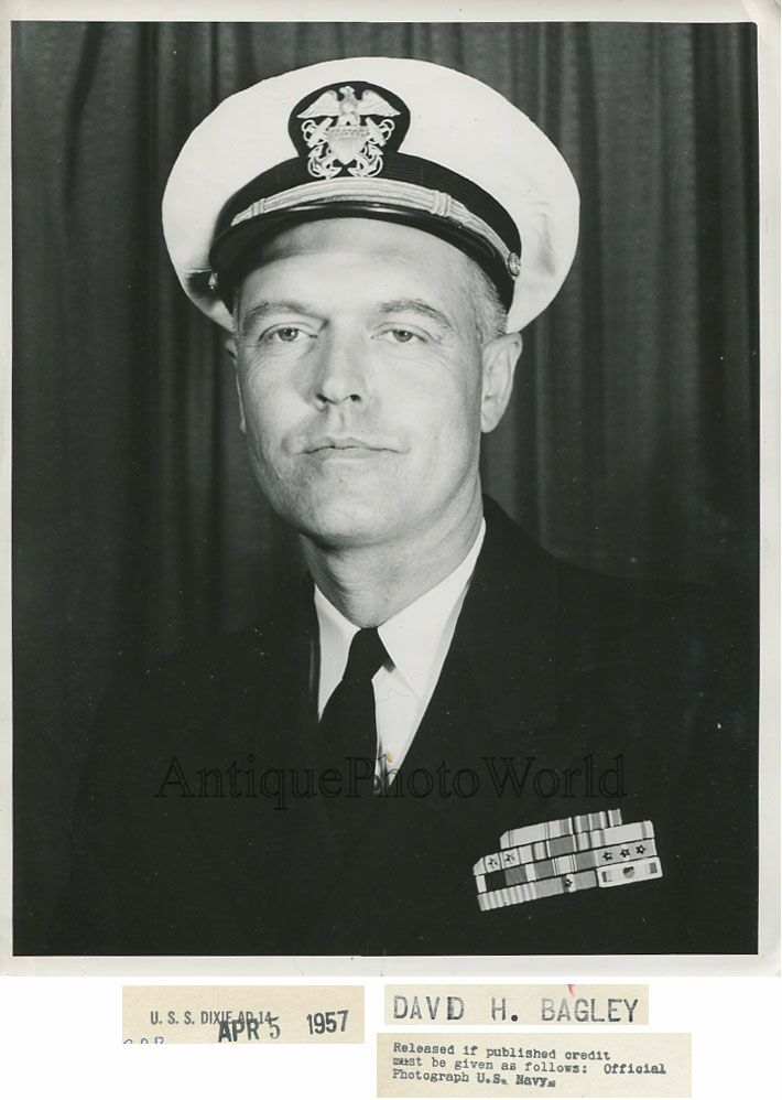 Admiral David H Bagley in Uniform Vintage Photo