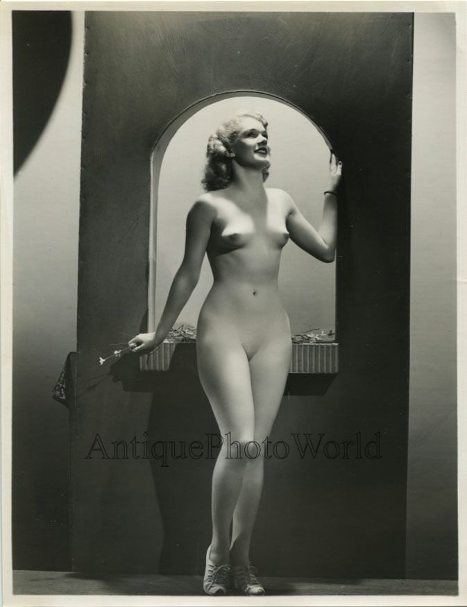 a56293 Nude woman with flower posing by window frame antique art photo